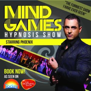 "Mind Games"" is Hypnosis Revived! The modern, hilarious, and AMAZING hypnosis show by Phoenix, featuring the world's FIRST fully immersive stage hypnosis experience!"