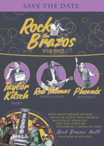 Rob Thomas, Taylor Kitsch, and mentalist Phoenix star in Rock the Brazos